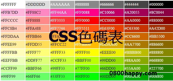 [CSS]色碼表,寫部落格好用快收藏