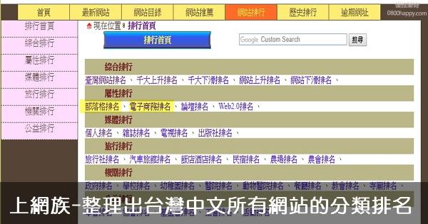 [網站排名]上網族-整理出台灣中文所有網站的分類排名,非常實用