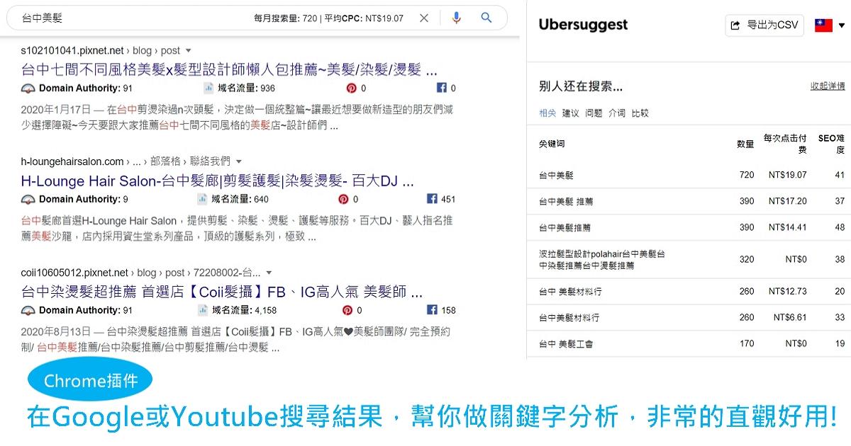 【Chrome】在Google或Youtube搜尋結果,幫你做關鍵字分析,非常的直觀好用!